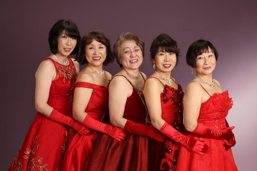還暦ドレス 赤 写真